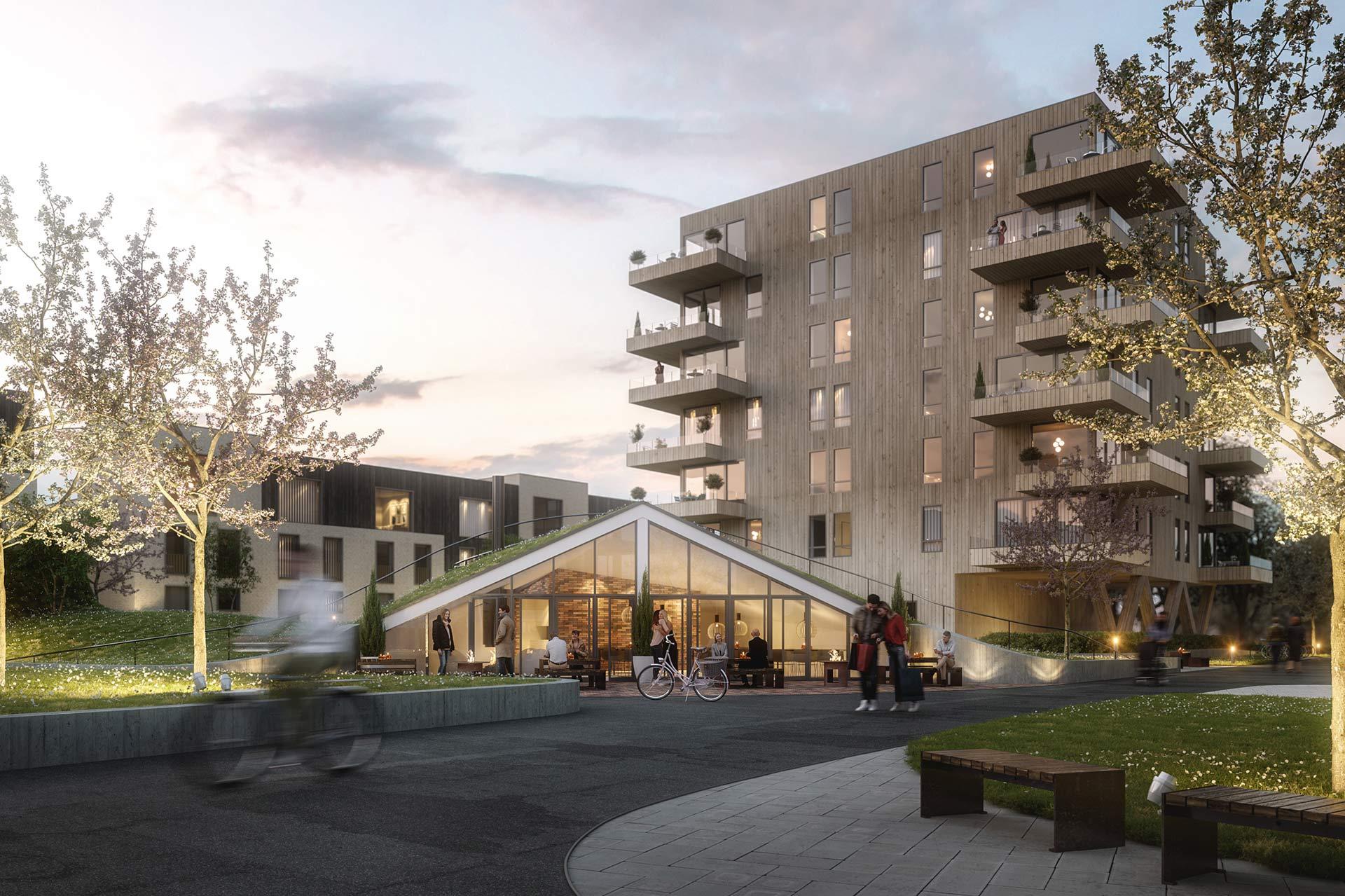 3D-illustrasjon av felleshuset i Rådhusmarka